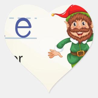 Alphabet letter E Heart Sticker
