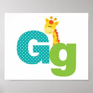 Alphabet Letter G Nursery Poster