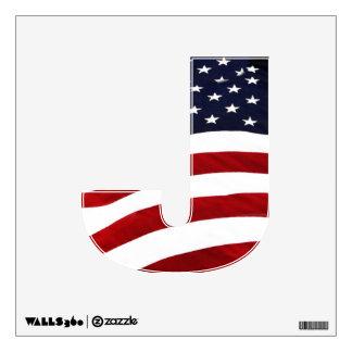 Alphabet Letter J  Decal - Patriotic American Flag