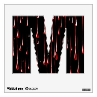 Alphabet Letter M Decal - Bloody Drips