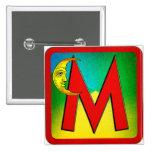 Alphabet Letter M Pinback Buttons