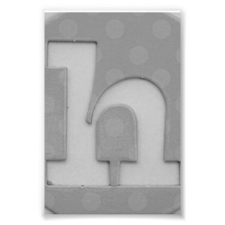 Alphabet Letter Photography H5 Black and White 4x6 Photo Print