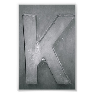 Alphabet Letter Photography K1 Black and White 4x6 Photo Print