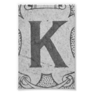 Alphabet Letter Photography K2 Black and White 4x6 Photo Print