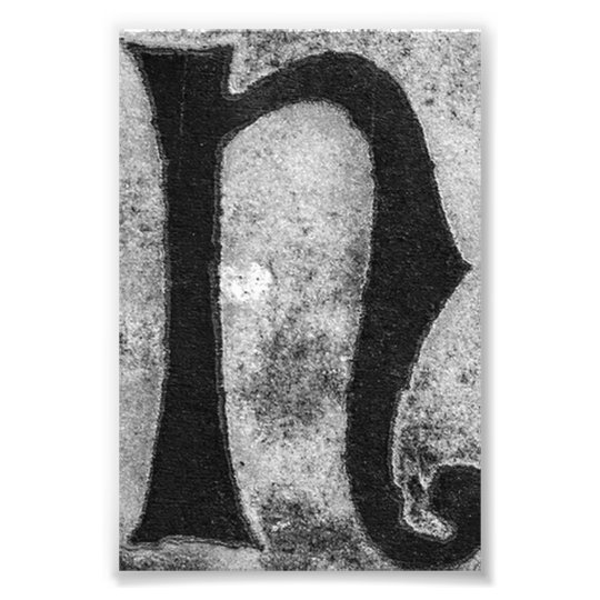 Alphabet Letter Photography N3 Black And White 4x6 Photo