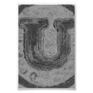 Alphabet Letter Photography U4 Black and White 4x6 Photographic Print