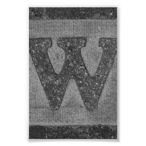 Alphabet Letter Photography W3 Black and White 4x6 Photograph
