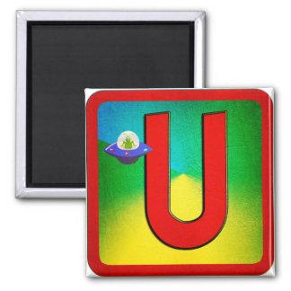 Alphabet Letter U 2 Inch Square Magnet