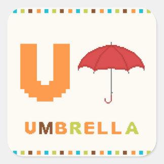 Alphabet, Letter U and Umbrella Square Sticker