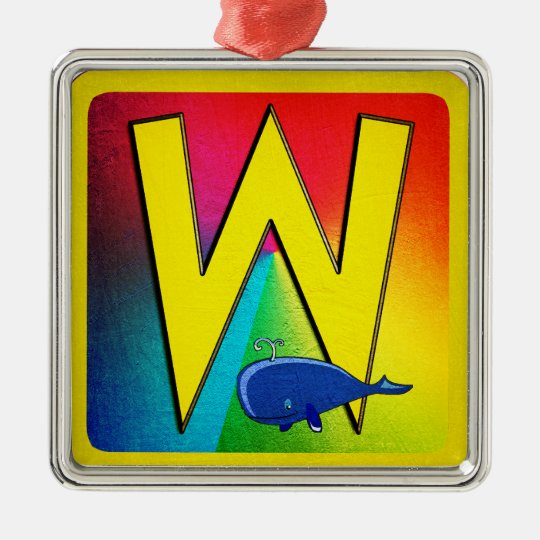 Alphabet Letter W Metal Ornament
