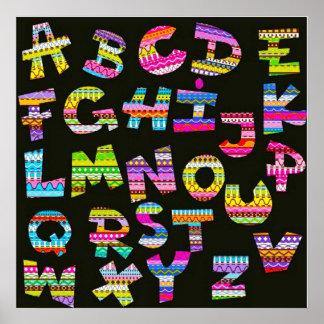 Alphabet letters colourful black patterns fun part poster