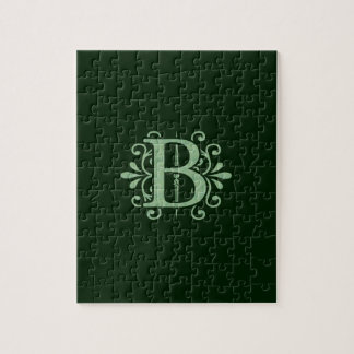 Alphabet letters - letter B - green Jigsaw Puzzle