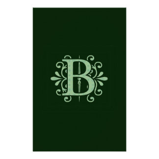 Alphabet letters - letter B - green Stationery