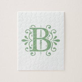Alphabet letters - letter B - white Jigsaw Puzzle
