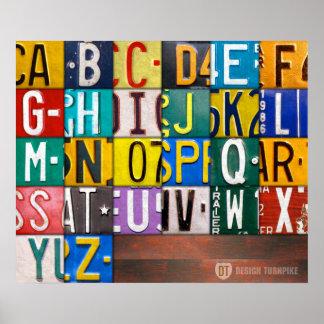 Alphabet Letters License Plate Art Poster