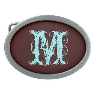 Alphabet M Brown Belt Buckle