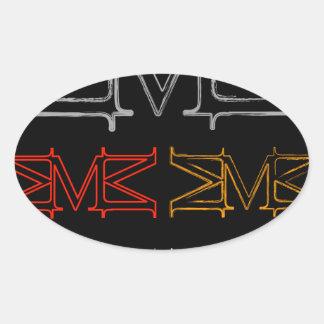 Alphabet M Oval Sticker