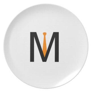 Alphabet M with a tie Plates