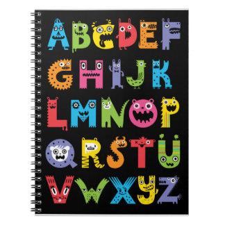 Alphabet Monsters Black notebook