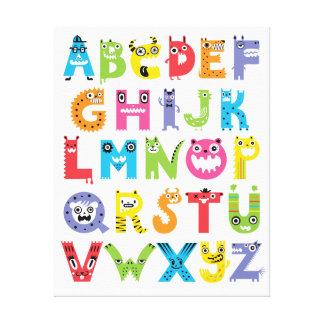 Alphabet Monsters Stretched Canvas Prints