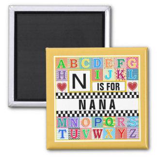 Alphabet Nana (or any name) Cute Magnet