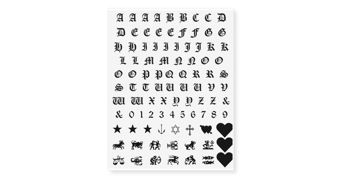 Alphabet Numbers Symbols Sun Signs Knuckle Tattoos Zazzle