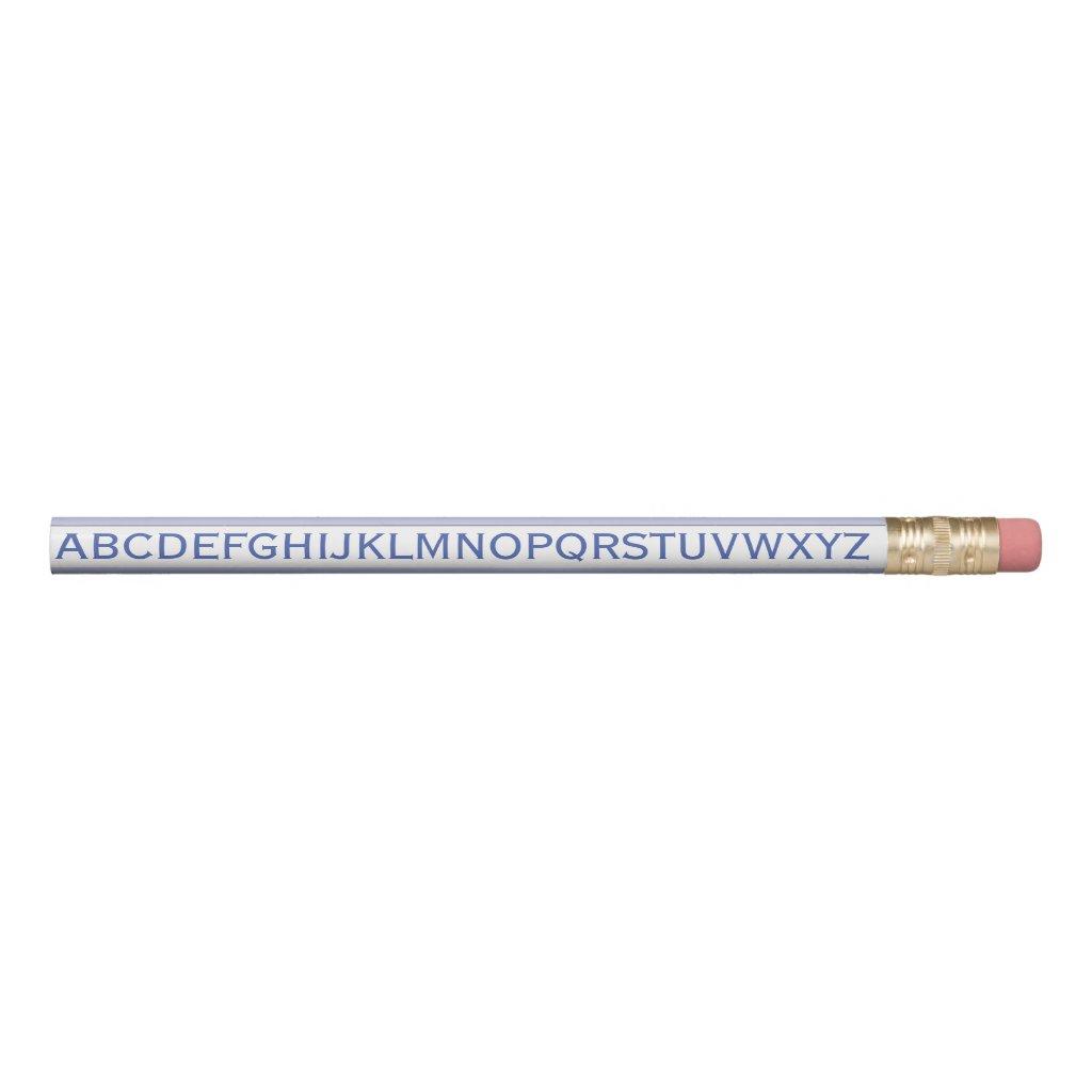 Alphabet on any Color Stripe on Pastel Blue