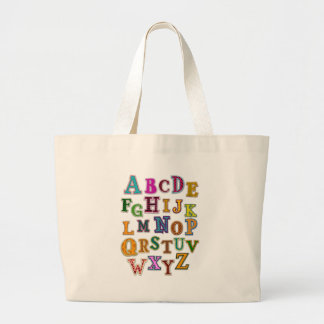 Alphabet Patches Large Tote Bag