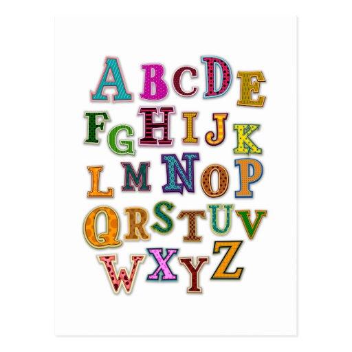 Alphabet Patches Postcard