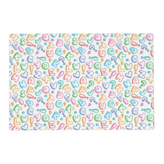 alphabet pattern laminated place mat