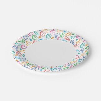 alphabet pattern paper plate