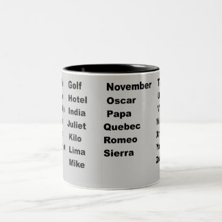 Alphabet Phonetic Aviation Two-Tone Coffee Mug