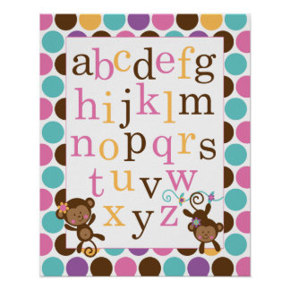 Alphabet Poster for Nursery Pink Monkey
