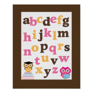 Alphabet Poster for Nursery Pink Owls