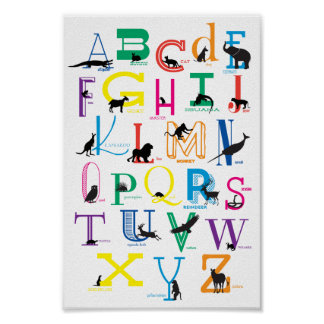 Alphabet Poster with Animal Silhouettes