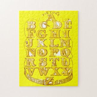 Alphabet Puzzle Bright Vintage Style Yellow