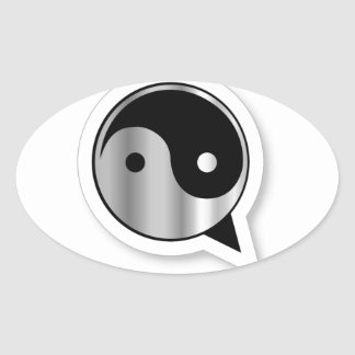 Alphabet Q with ying and yang Oval Sticker
