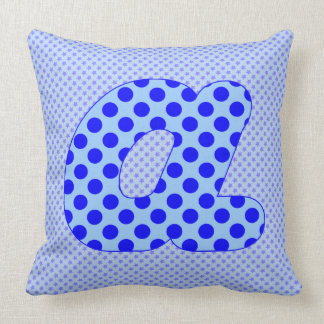 Alphabet Set, Character A in Shades of Blue Pillows