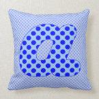 Alphabet Set, Character A in Shades of Blue Throw Pillow (<em>$49.60</em>)