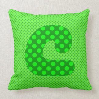 Alphabet Set, Character C in Shades of Green Throw Pillow