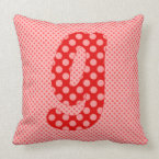 Alphabet Set, Character G in Red and Pink Shades Throw Pillow (<em>$49.60</em>)