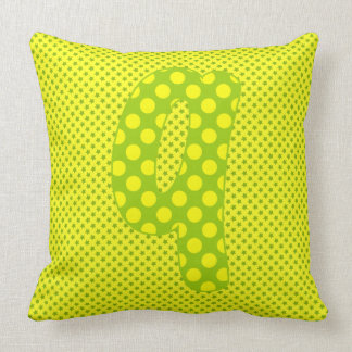 Alphabet Set, Character Q in Shades Green Yellow Throw Pillow