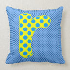 Alphabet Set, Character R in Shades of Blue Yellow Throw Pillow (<em>$49.60</em>)