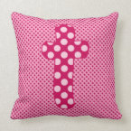 Alphabet Set, Character T in Shades of Pink Purple Throw Pillow (<em>$49.60</em>)