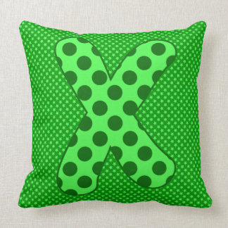 Alphabet Set, Character X in Shades of Green Throw Pillow