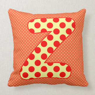 Alphabet Set, Character Z in Shades Beige Salmon Throw Pillows