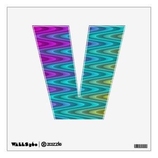 Alphabet Shape V - Funny Colored Fractal Pattern Wall Sticker