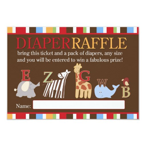 Alphabet Soup ABC Baby Shower Diaper Raffle Card