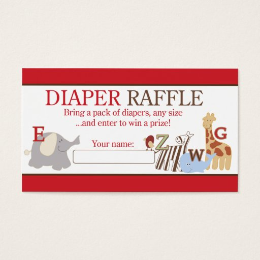 Alphabet Soup ABC Jungle Baby Shower Diaper Raffle Business Card