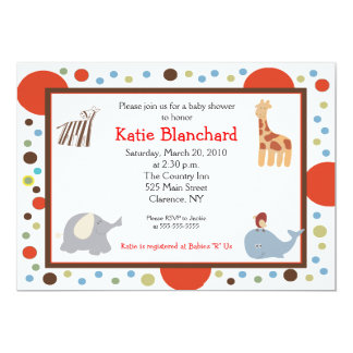 Alphabet Soup Dots 5x7 Baby Shower Invitation